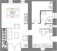 Ground floor map of the Limon Puy Mary guesthouse - Cantal